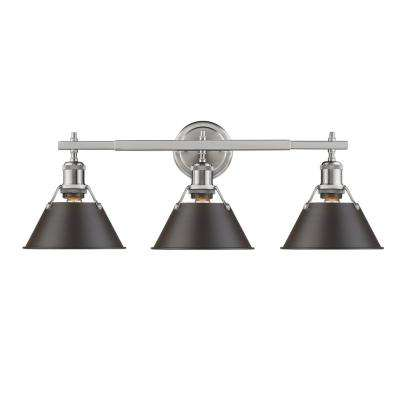 Orwell PW 3-Light Pewter Bath Light with Rubbed Bronze Shade