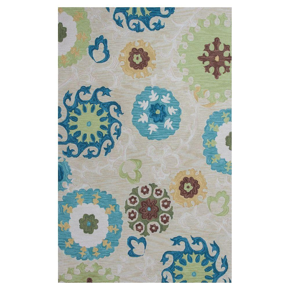 Kas Rugs Scrolling Wheels Beige/Teal 2 ft. 3 in. x 3 ft. 9 in. Area Rug