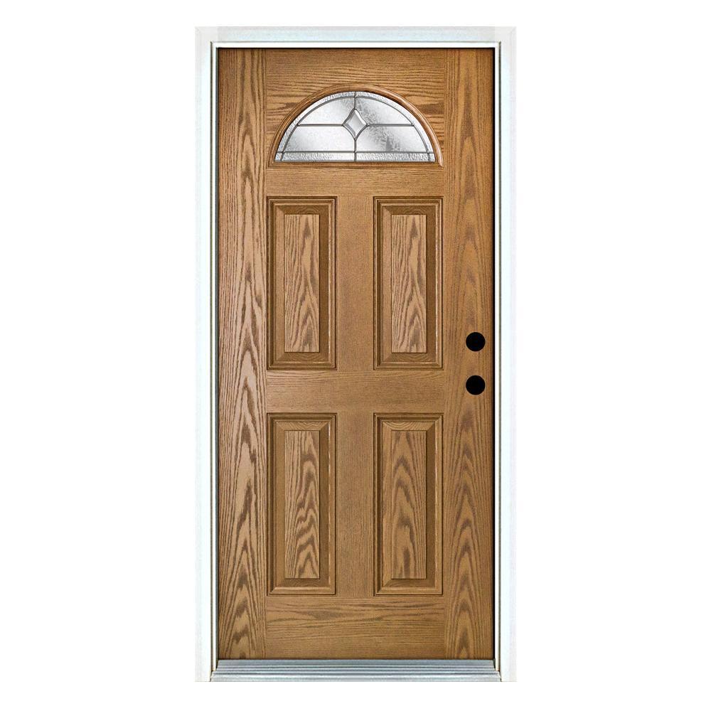 32 in. x 80 in. Left-Hand Inswing Fan Lite Valentia Decorative Glass Light Oak Stained Fiberglass Prehung Front Door