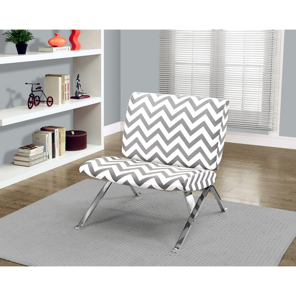 Monarch Specialties Grey And White Fabric Accent Chair I