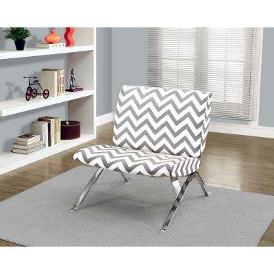 Grey and White Fabric Accent Chair