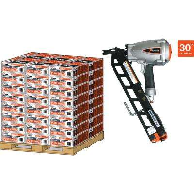 Pallet- 30D 3 in. x 120 Heavy Duty Galvanized Ring Shank Paper-Taped Framing Nails with PMPro Nailer