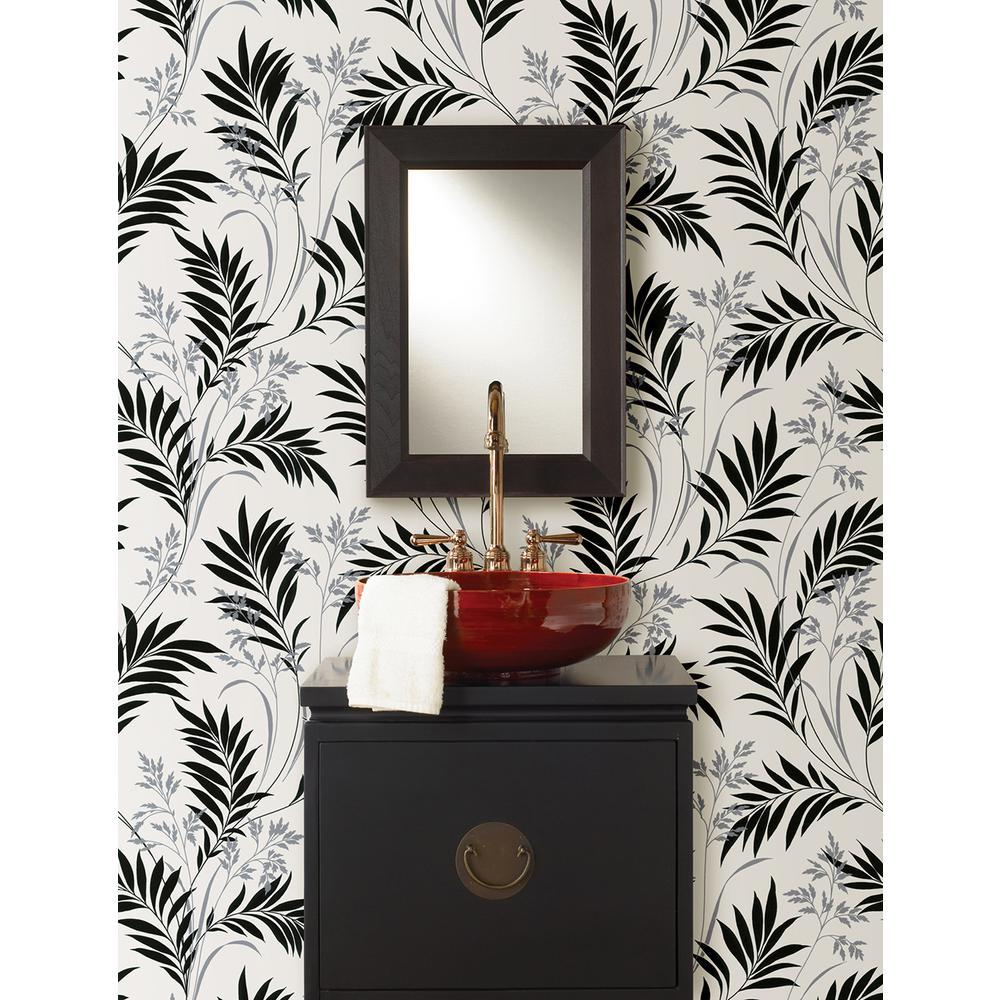 Midori White Bamboo Silhouette Wallpaper Sample