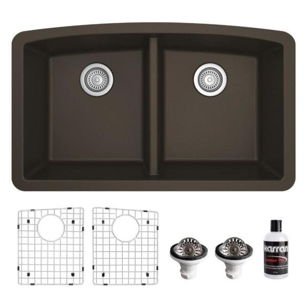 QU-710 Quartz/Granite Composite 32 in. Double Bowl 50/50 Undermount Kitchen Sink with Grids & Basket Strainers in Brown