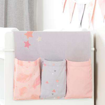 DreamIt Pink and Gray Cotton Doudou the Rabbit Changing Table Runner and Pennant Banner