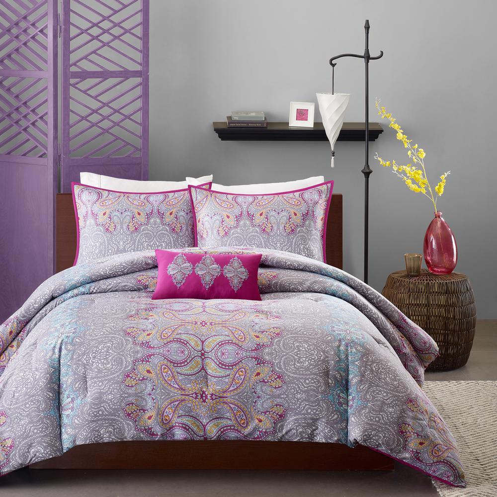 Torrance 4-Piece Grey Full/Queen Comforter Set