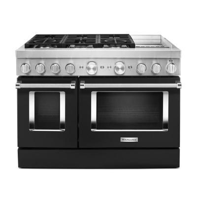 48 in. 6.3 cu. ft. Smart Double Oven Dual Fuel Range with True Convection in Imperial Black with Griddle