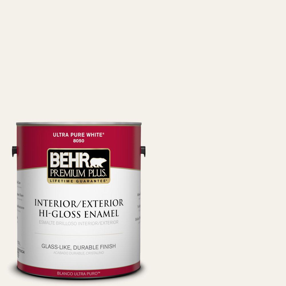 BEHR Premium Plus 1-gal. #ECC-38-2 Icy Tundra Hi-Gloss Enamel Interior/Exterior Paint