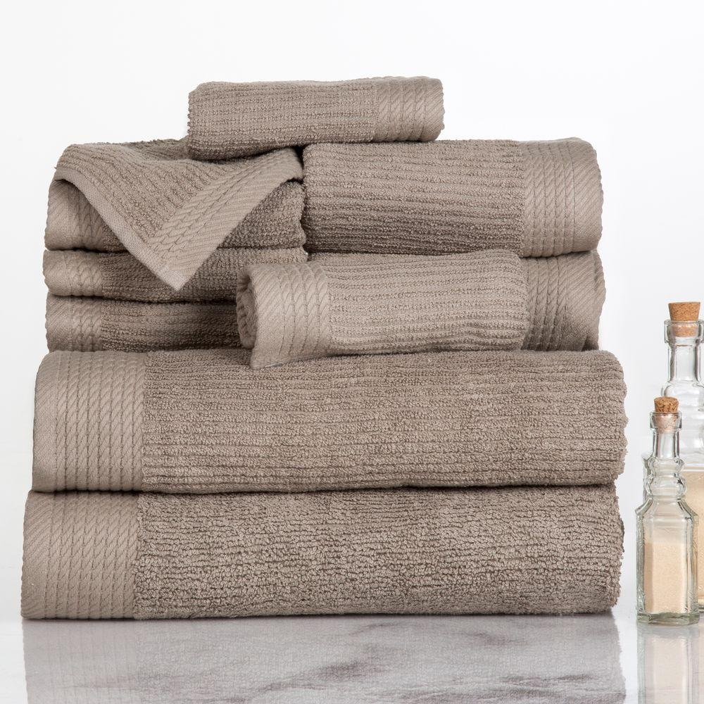 Ribbed Egyptian Cotton Towel Set in Taupe (10-Piece)