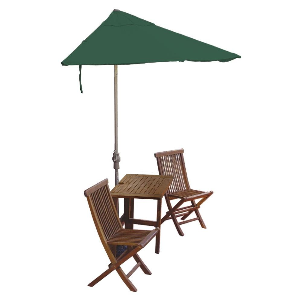 Blue Star Group Terrace Mates Villa Deluxe 5-Piece Patio Bistro Set with 7.5 ft. Green Sunbrella Half-Umbrella