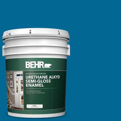 5 gal. #OSHA-1 OSHA SAFETY BLUE Urethane Alkyd Semi-Gloss Enamel Interior/Exterior Paint