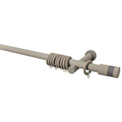 95 in. Intensions Single Curtain Rod Kit in Smoke with Wood-Fabric Finials with Open Brackets and Rings