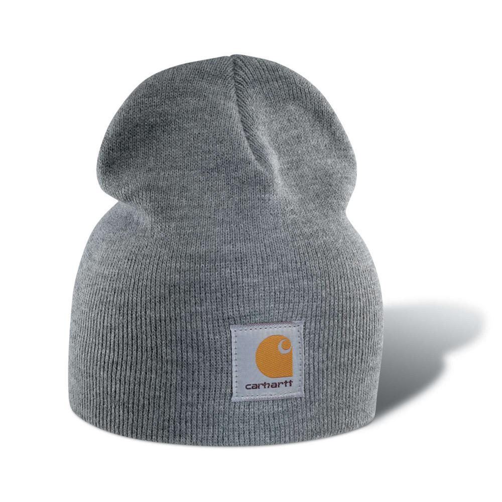 48a3793a28ed7 Carhartt Men s OFA Heather Gray Acrylic Hat Headwear-A205-HGY - The ...