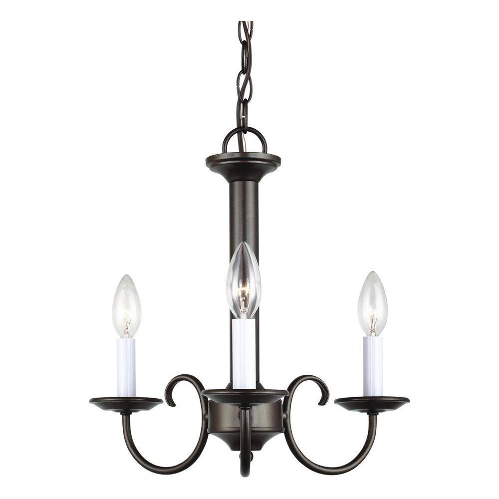 Holman 3-Light Heirloom Bronze Chandelier with Dimmable Candelabra LED Bulb