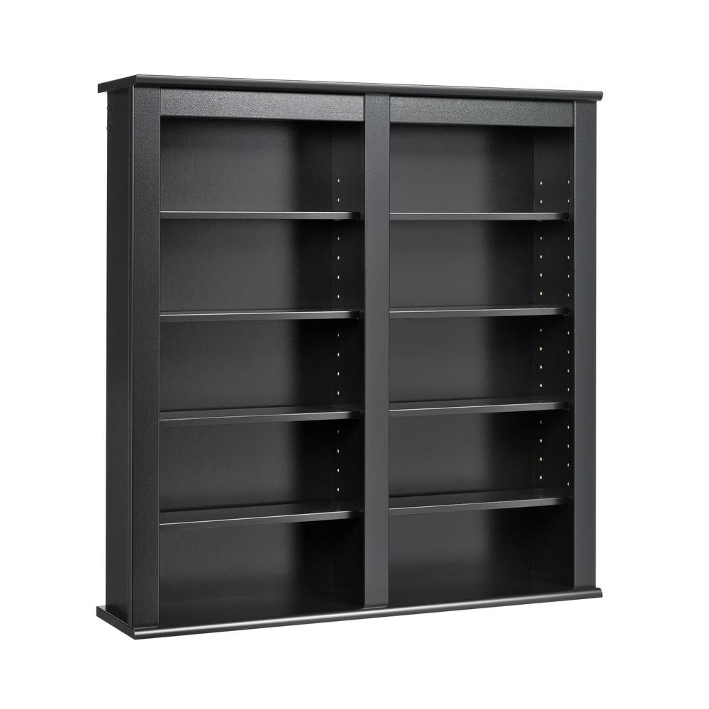 Prepac Black Media Storage Store your media in style with the Double Wall Mounted Storage shelf. Ideal for managing a medium collection of CDs or DVDs, this piece mounts on your wall so you don't have to clutter your floor space. Not only is it stylish, it makes your collection easier to access, too. Mounting it on your wall at any height couldn't be easier with our innovative hanging rail system. A wise choice for anyone who wants their storage to be both practical and chic. Color: Black.