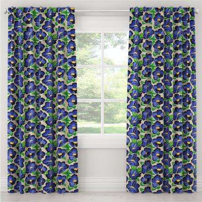 50 in. W x 96 in. L Blackout Curtain in Carla Floral Blue