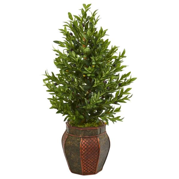 Nearly Natural Indoor 40-In. Olive Cone Topiary Artificial Tree in Decorative