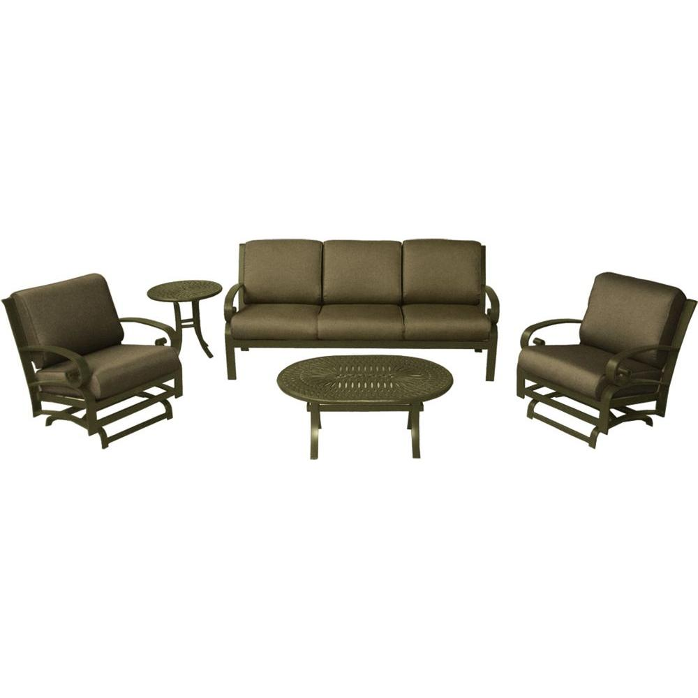 Tradewinds Valle Vista 5-Piece Canvas Cocoa and Olympic Gold Patio Seating Set-DISCONTINUED