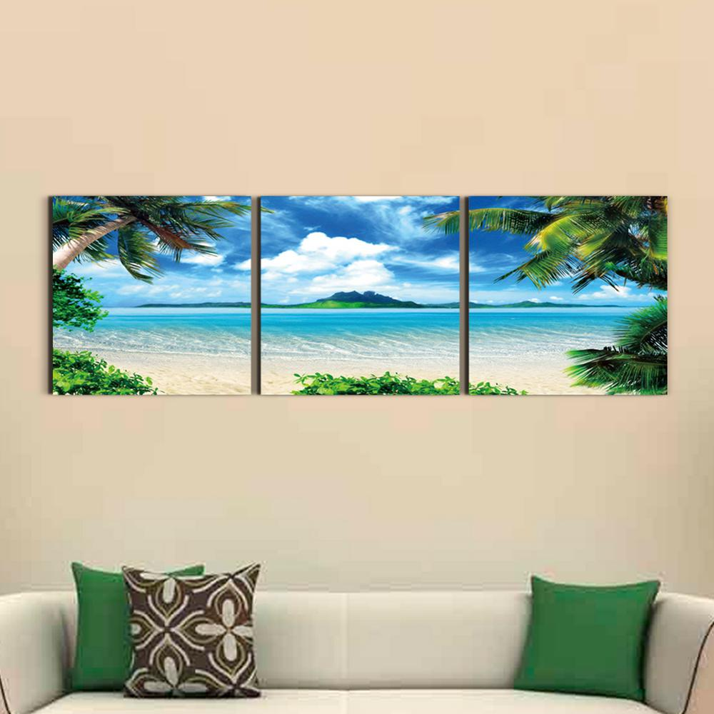 furinno 20 in x 60 in coconut tree scenery printed canvas wall