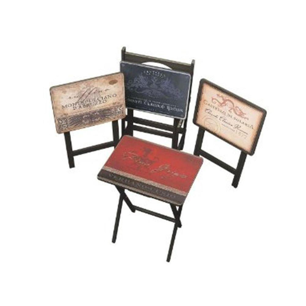 Multi Color Tuscan Wine TV Tray with Stand (Set of 4), Mu...