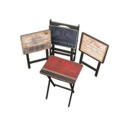 Multi Color Tuscan Wine TV Tray with Stand (Set of 4)