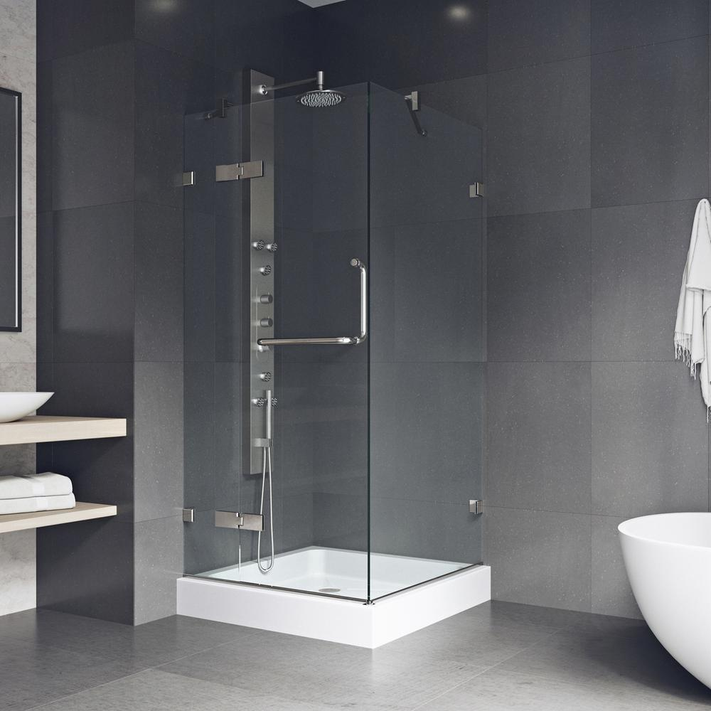 VIGO Monteray 36.125 x 79.25 in. Frameless Hinged Shower Door in Brushed Nickel with Clear Glass with Base