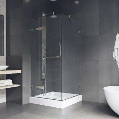 Monteray 36.125 x 79.25 in. Frameless Hinged Shower Door in Brushed Nickel with Clear Glass with Base