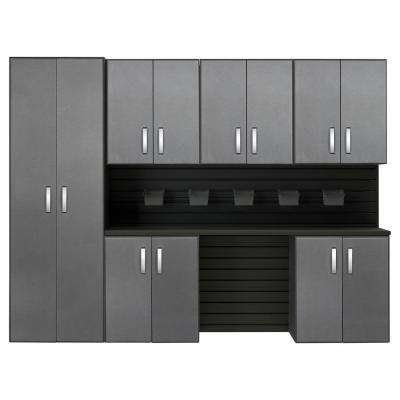 Modular Wall Mounted Garage Cabinet Storage Set with Accessories in Black/Graphite Carbon Fiber (12-Piece)