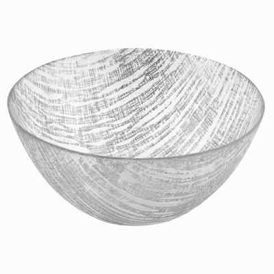 8.75 in. D Silver Lines Handcrafted Glass Bowl