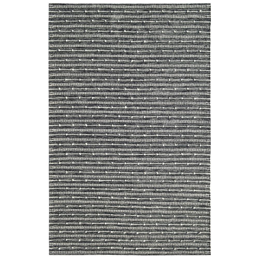 Oak Ivory/Charcoal 5 ft. x 8 ft. Modern Cotton/Wool Area Rug