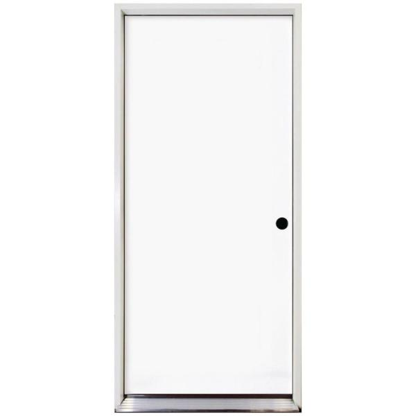24 in. x 80 in. Premium Flush Primed White Left-Hand Outswing Steel Prehung Front Door with 4-9/16 in. Frame