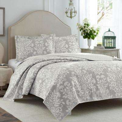 Rowland 3-Piece Grey King Quilt Set