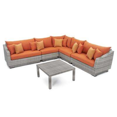 Cannes 6-Piece Patio Corner Sectional Set with Tikka Orange Cushions