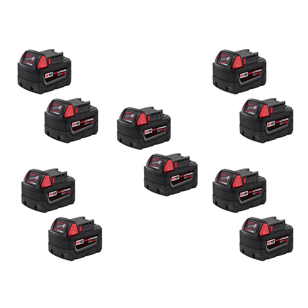 Milwaukee -  M18 18-Volt Lithium-Ion XC Extended Capacity Battery Pack 5.0Ah (10-Pack)