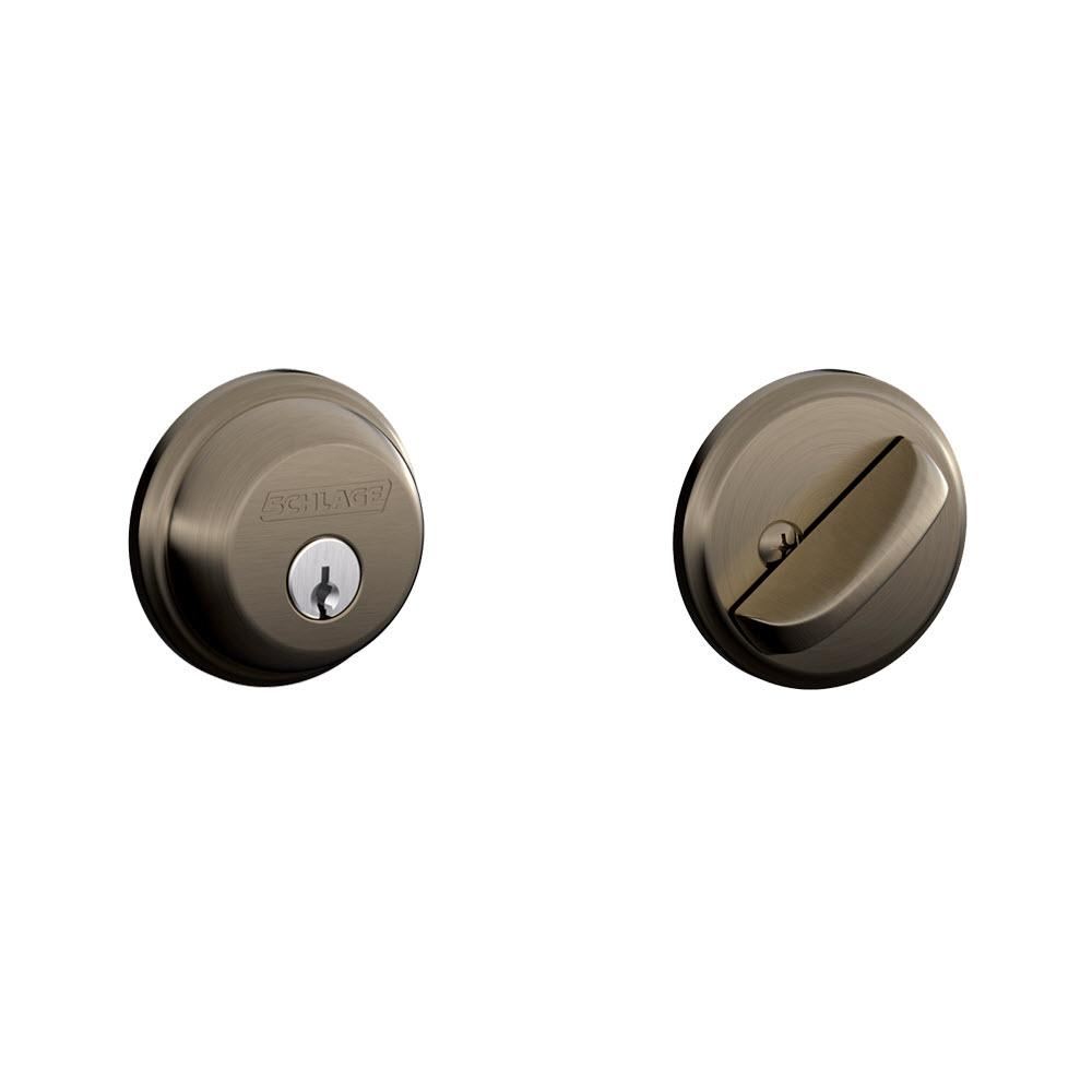 Schlage Antique Pewter Single Cylinder Deadbolt - Schlage Antique Pewter Single Cylinder Deadbolt-B60N 620 - The Home