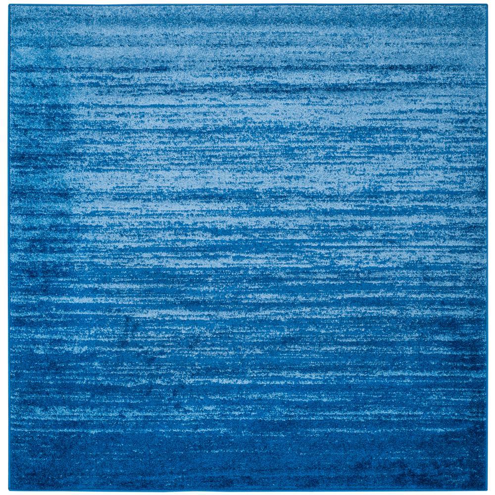 Adirondack Light Blue/Dark Blue 8 ft. x 8 ft. Square Area Rug