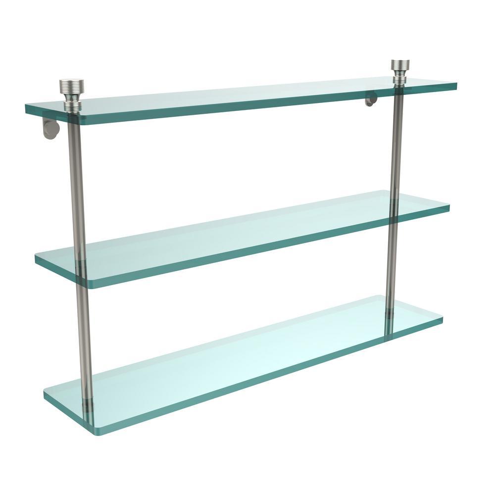 Foxtrot 22 in. L  x 15 in. H  x 5 in. W 3-Tier Clear Glass Bathroom Shelf in Polished Nickel