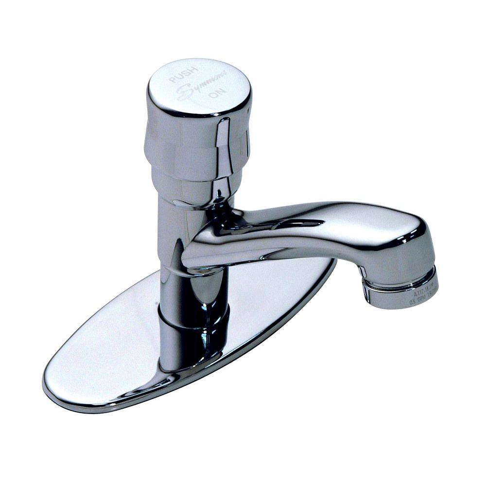 Symmons Metering Single Hole 1 Handle Bathroom Faucet In Chrome With Deck Plate S 72 The Home