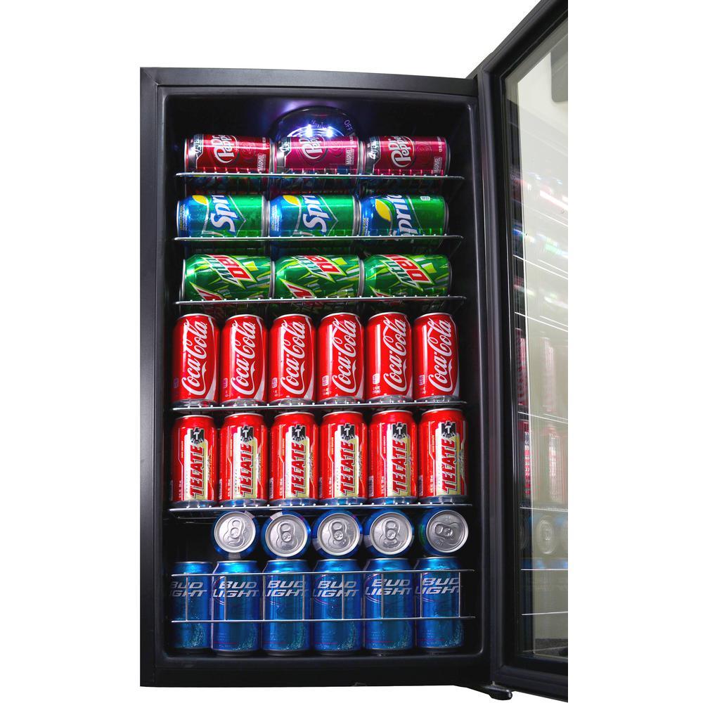 19 Beverage Center Cooler Glass Door Wine Beer Soda Stainless Steel