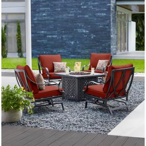 Highland Point Black Pewter 5-Piece Aluminum Outdoor Patio Fire Pit Set with Sunbrella Henna Red Cushions