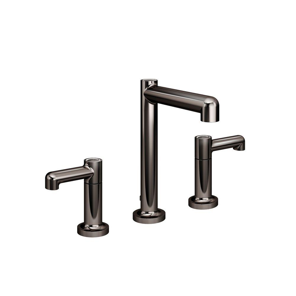 Symmons Museo 8 In. Widespread 2-Handle Low-Arc Bathroom Faucet In Polished Graphite-SLW-5312