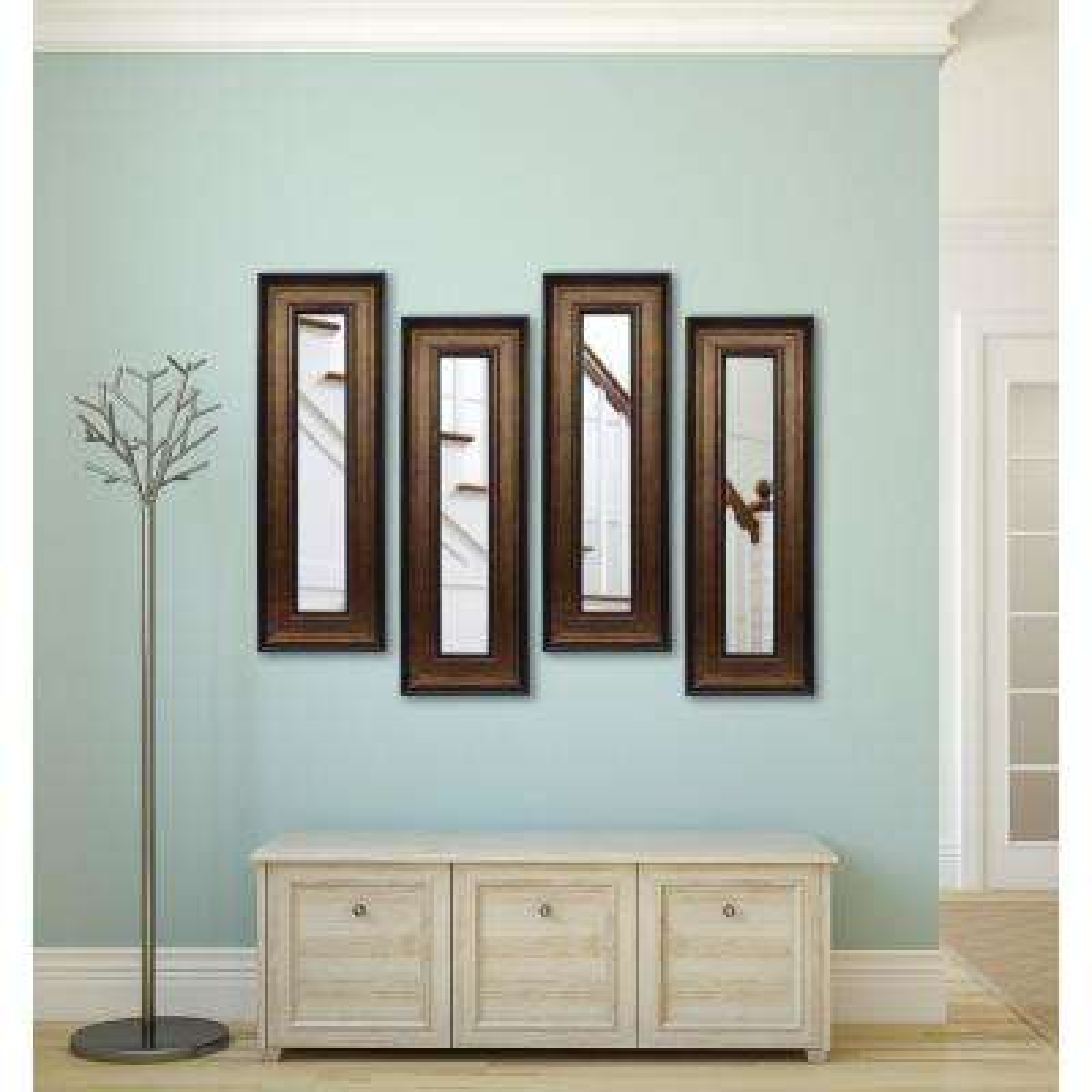 18.75 in. x 42.75 in. Bronze and Black Vanity Mirror (Set of 4-Panels)