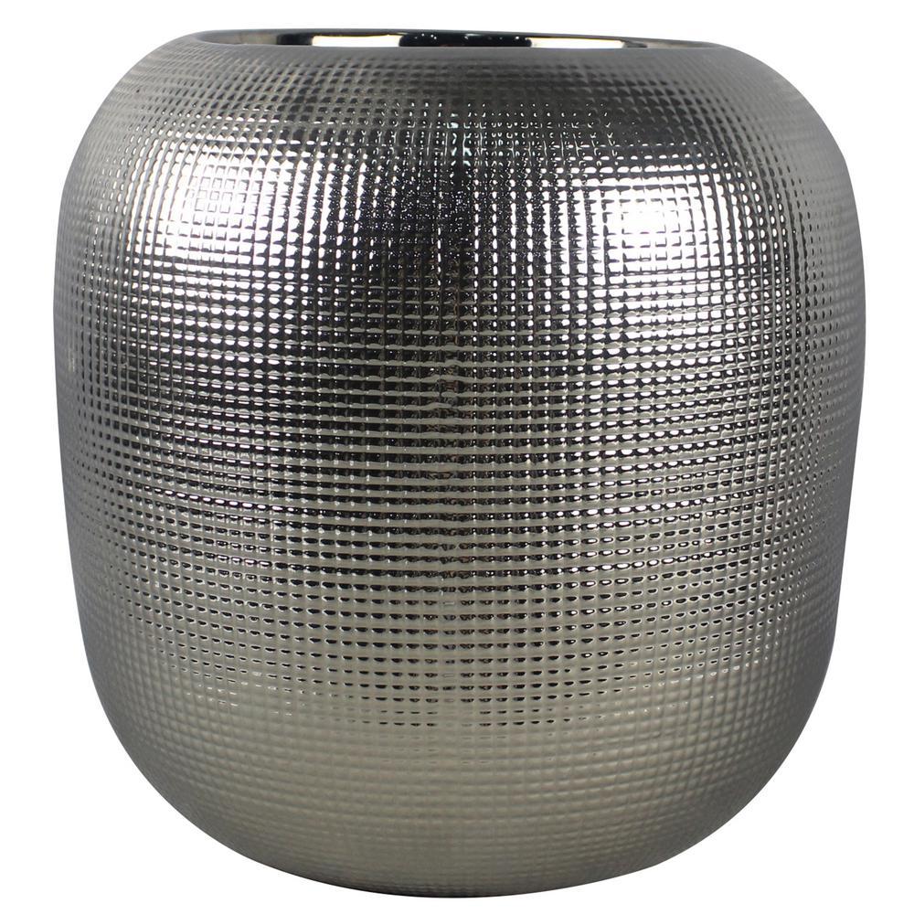 11 in. Silver Capsule Ceramic Planter