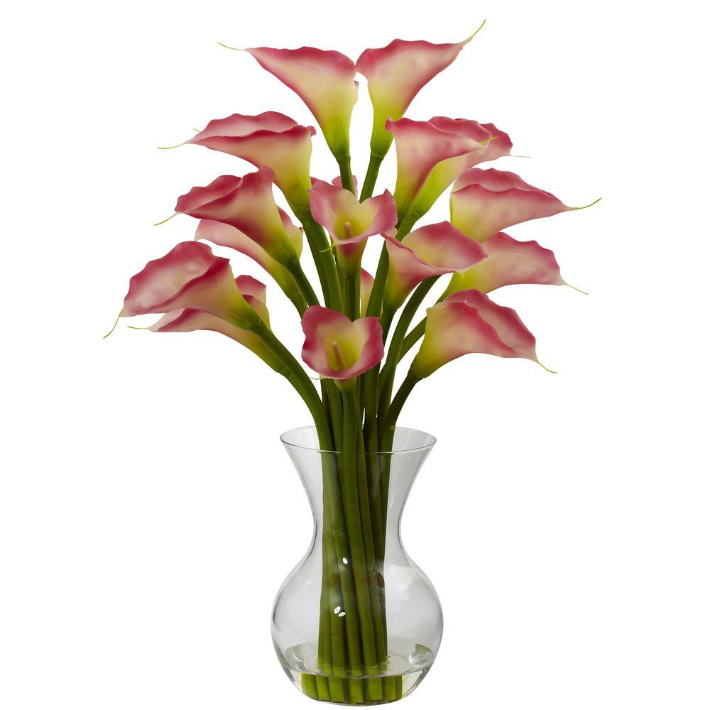 Nearly natural galla calla lily with vase arrangement in pink 1299 nearly natural galla calla lily with vase arrangement in pink izmirmasajfo Image collections