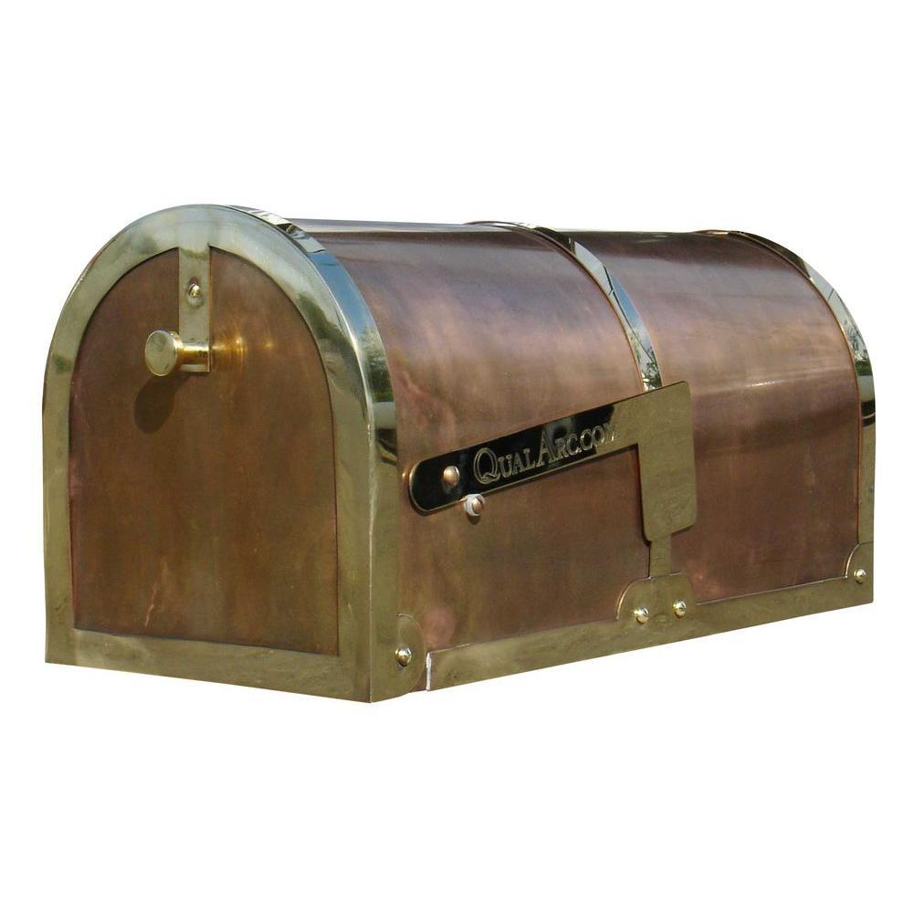 Qual Arc Polished Brass Post Mount Non-Locking Mailbox