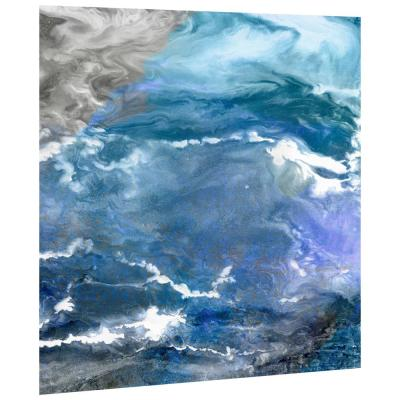 """""""Glistening Tide"""" Abstract Wall Art Printed on Frameless Free Floating Tempered Glass Panel"""