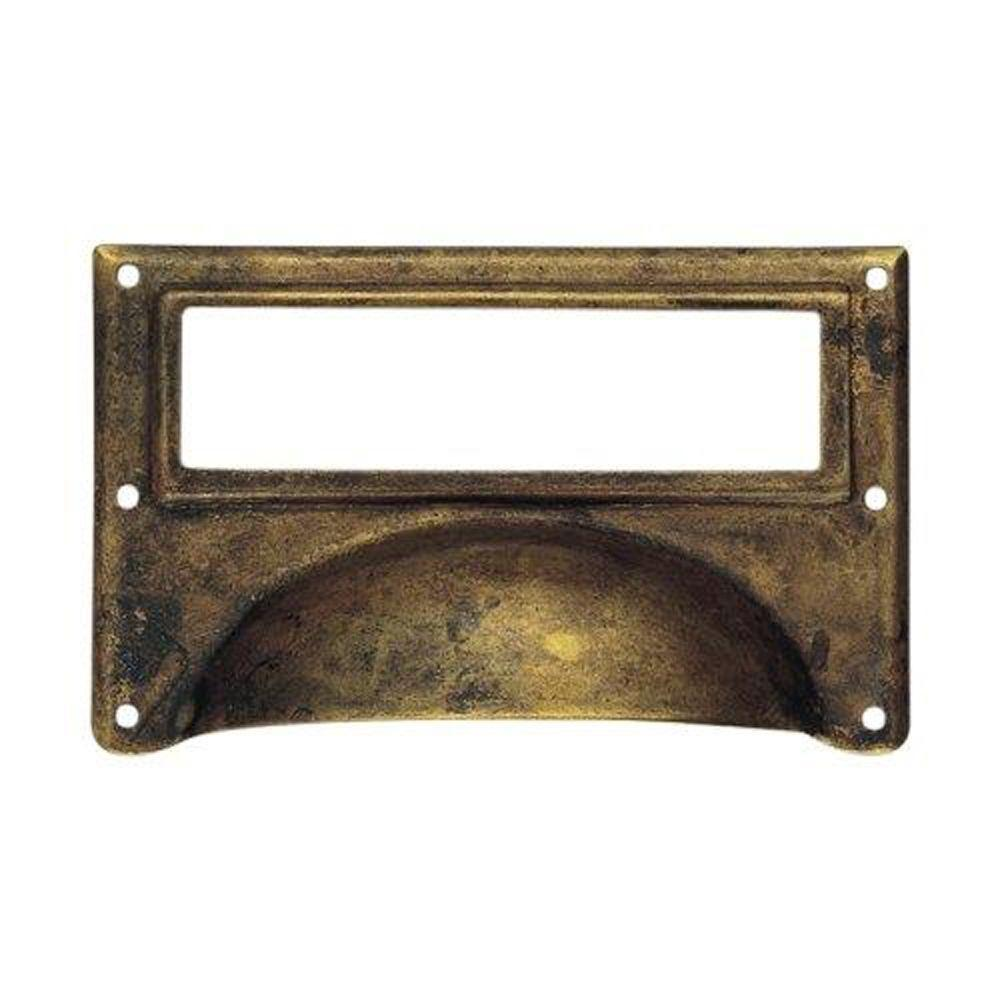 3.15 in. Antique Rust Bin Pull With Card Holder