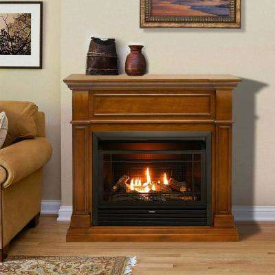 44 in. Ventless Dual Fuel Gas Fireplace in Apple Spice with Remote Control