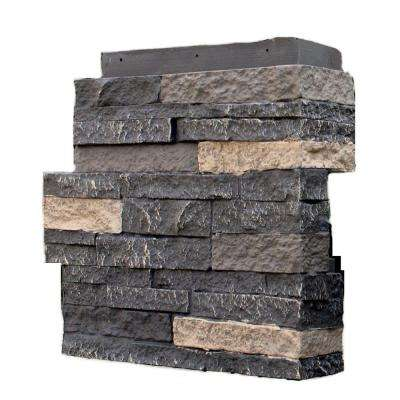 Stacked Stone Bedford Charcoal 4.25 in. x 13.75 in. Faux Stone Siding Corner (4-Pack)