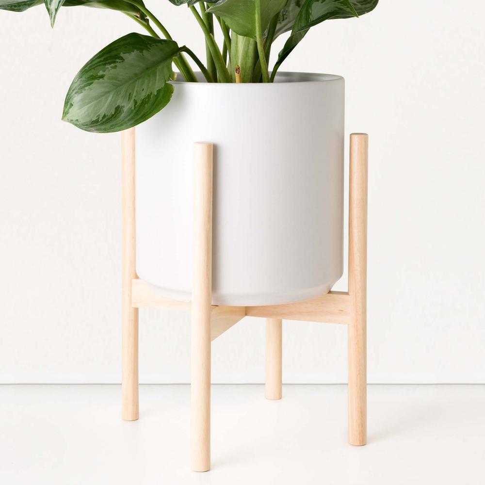 Peach & Pebble 10 in. White Ceramic Planter with Natural ...